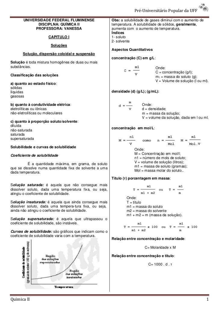Pré-Universitário Popular da UFF         UNIVERSIDADE FEDERAL FLUMINENSE                    Obs: a solubilidade de gases d...