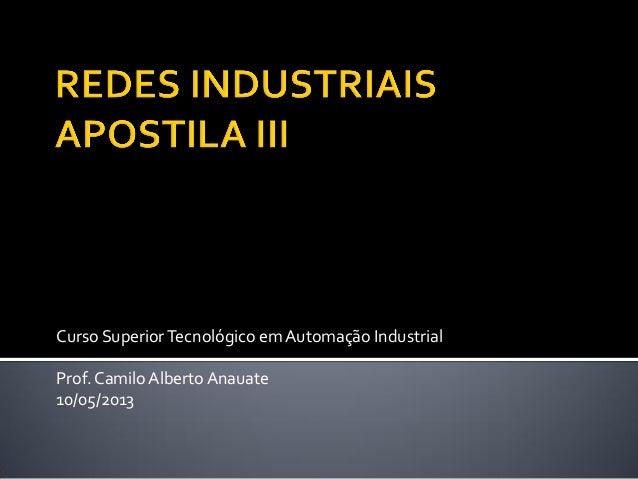 Curso Superior Tecnológico em Automação Industrial  Prof. Camilo Alberto Anauate  10/05/2013