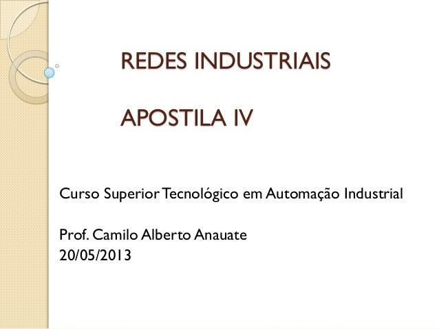 REDES INDUSTRIAIS APOSTILA IV  Curso Superior Tecnológico em Automação Industrial  Prof. Camilo Alberto Anauate  20/05/2013