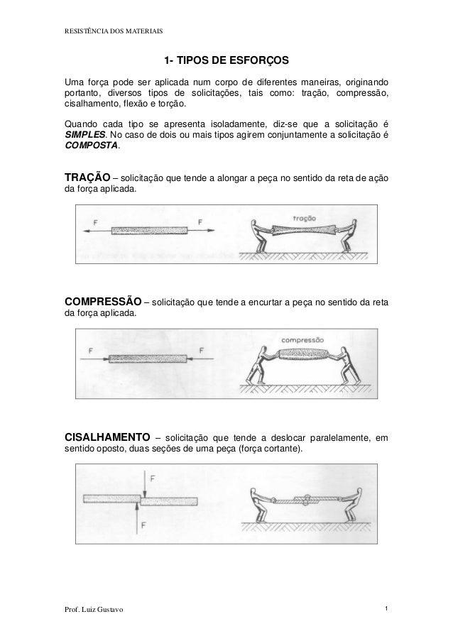 RESISTÊNCIA DOS MATERIAIS Prof. Luiz Gustavo 1 1- TIPOS DE ESFORÇOS Uma força pode ser aplicada num corpo de diferentes ma...