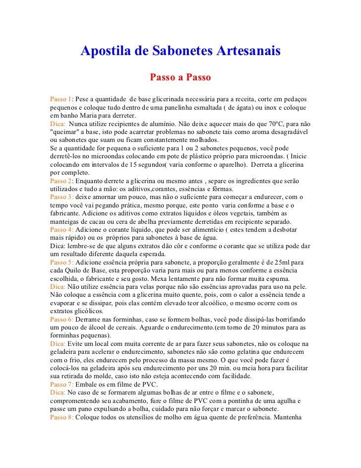 Apostila de Sabonetes Artesanais                                  Passo a PassoPasso 1: Pese a quantidade de base glicerin...