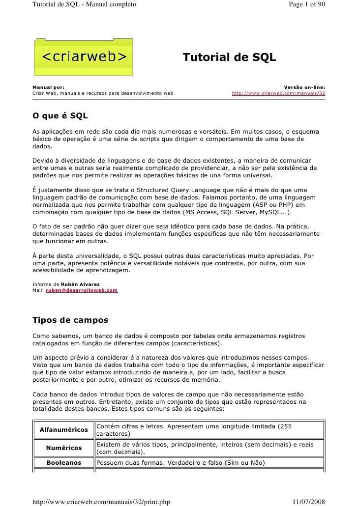 Tutorial de SQL - Manual completo                                                        Page 1 of 90                     ...