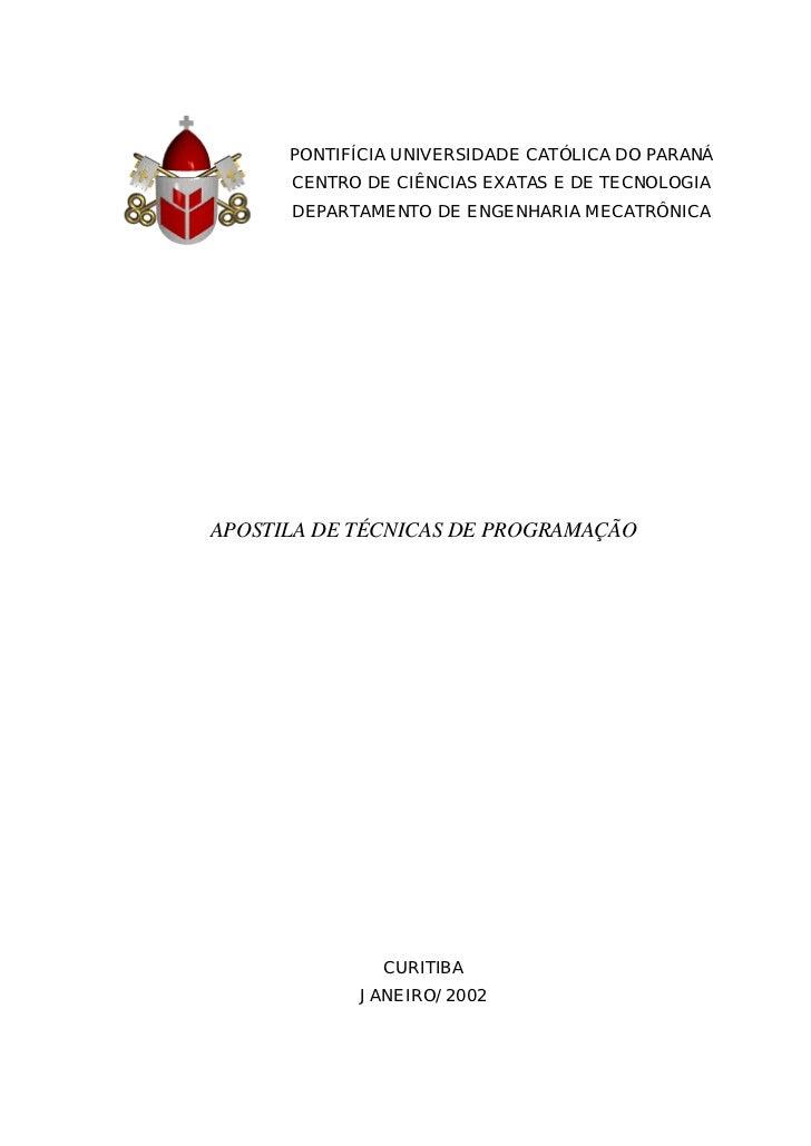 PONTIFÍCIA UNIVERSIDADE CATÓLICA DO PARANÁ      CENTRO DE CIÊNCIAS EXATAS E DE TECNOLOGIA      DEPARTAMENTO DE ENGENHARIA ...