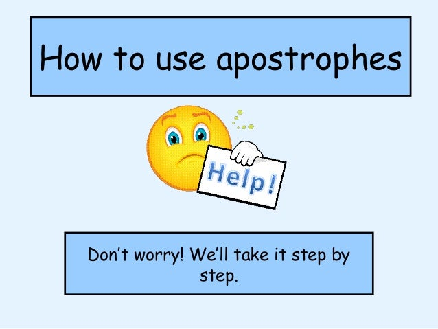 Apostrophe Omission And Possession