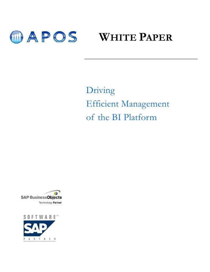 WHITE PAPER    Driving Efficient Management of the BI Platform