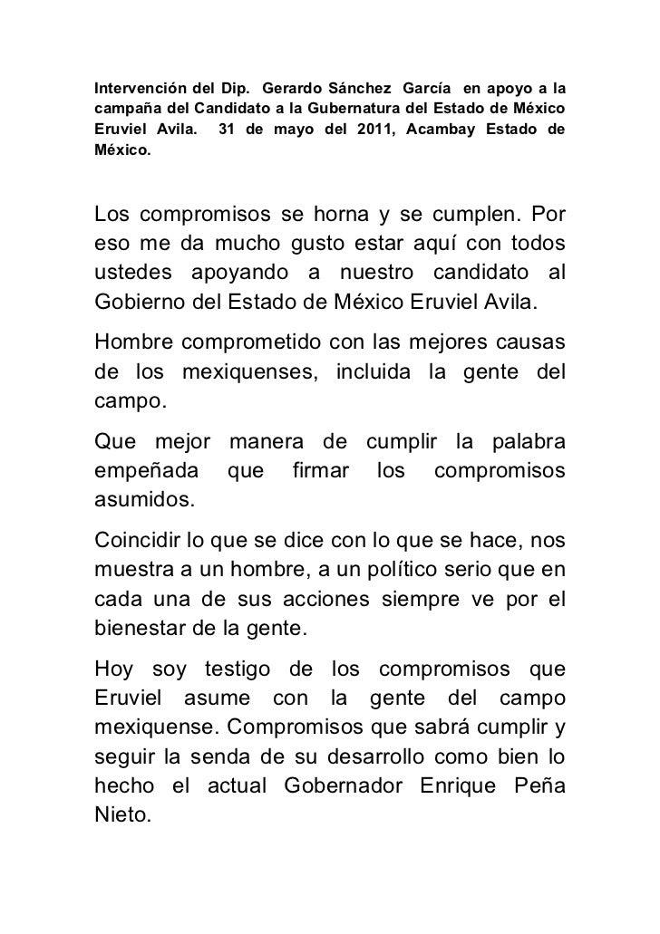 Intervención del Dip. Gerardo Sánchez García en apoyo a lacampaña del Candidato a la Gubernatura del Estado de MéxicoEruvi...