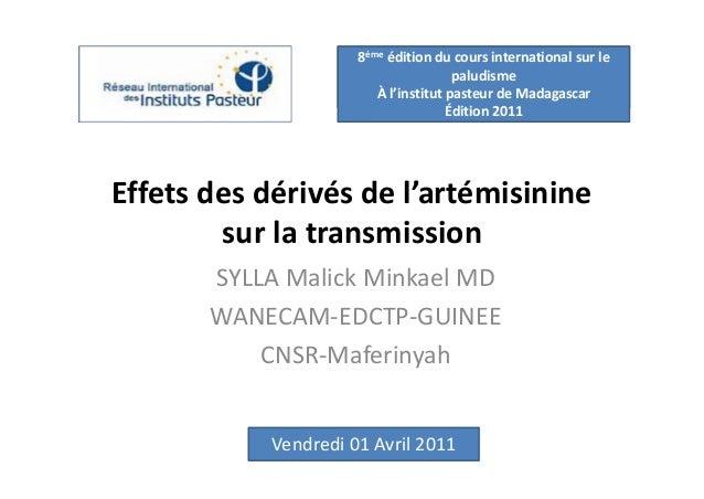 8ème édition du cours international sur le                                      paludisme                        À l'insti...