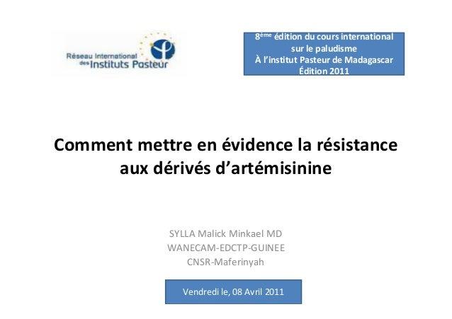 8ème édition du cours international                                             sur le paludisme                          ...