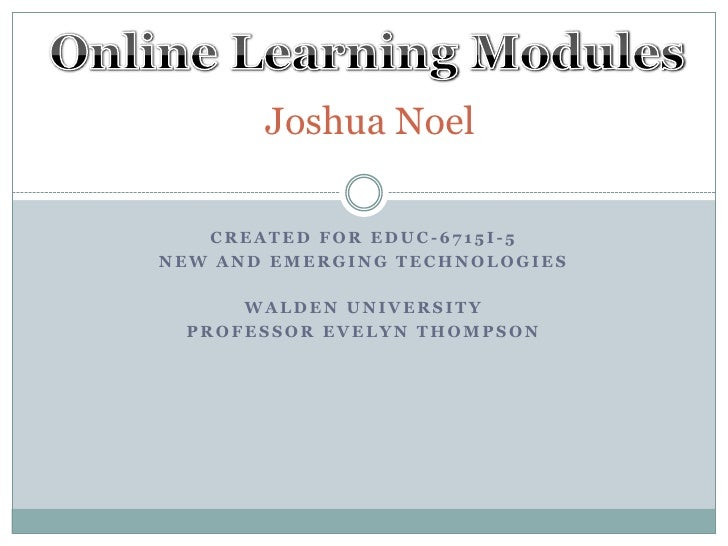 Application 4: Online Learning Modules