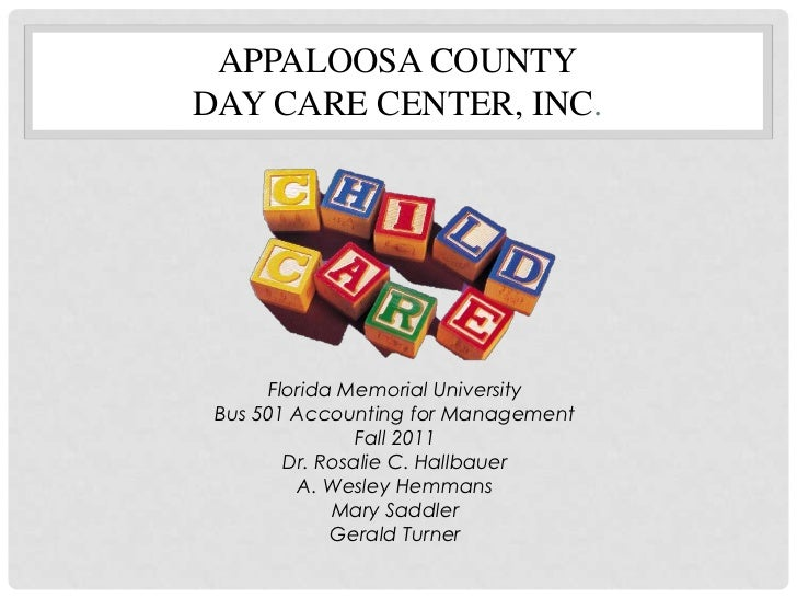appaloosa county day care center inc essay We will write a custom essay sample on the effectiveness of breakfast in the day care  in-the-day-care-center-essay  appaloosa county day care center, inc.