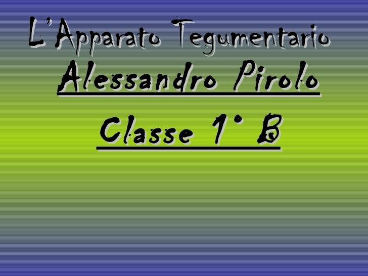 L'Apparato Tegumentario Alessandro Pirolo Classe 1° B