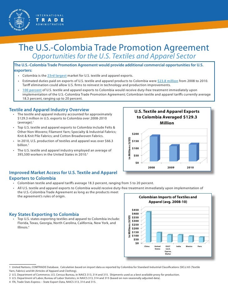 The U.S.-Colombia Trade Promotion Agreement                  Opportunities for the U.S. Textiles and Apparel Sector   The ...