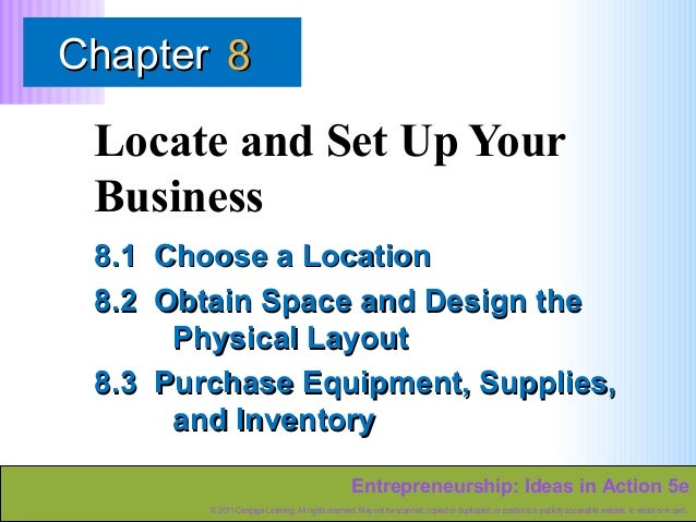 Chapter 8  Locate and Set Up Your Business 8.1 Choose a Location 8.2 Obtain Space and Design the Physical Layout 8.3 Purch...
