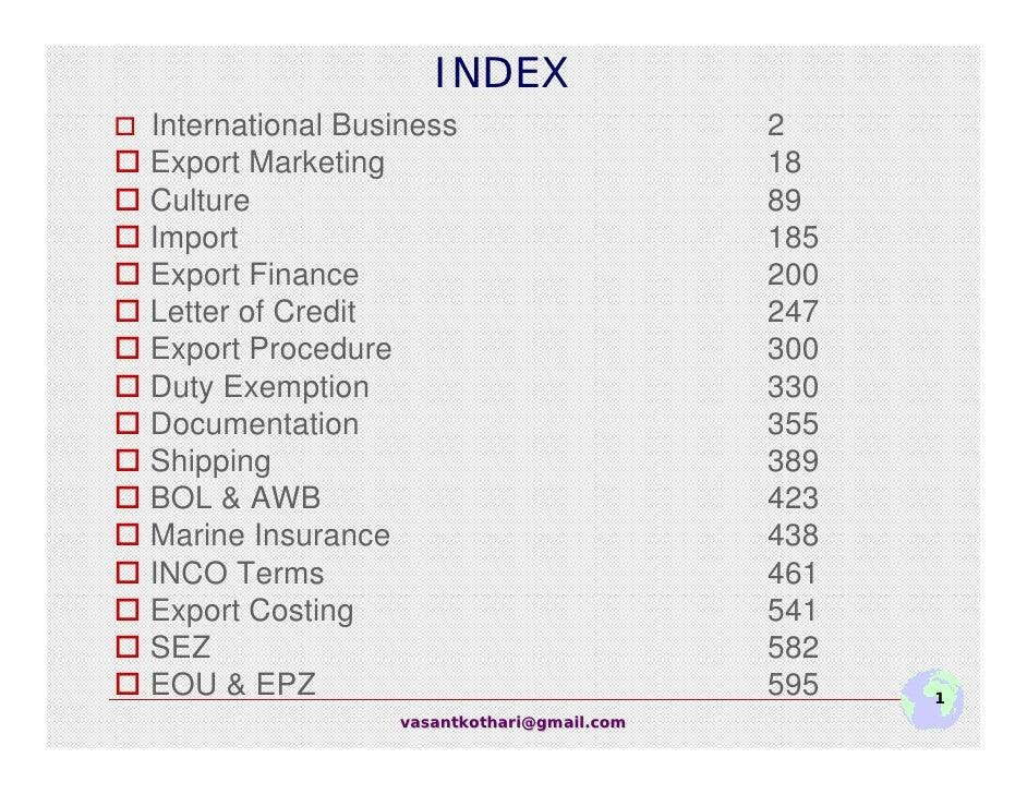 INDEX International Business                     2 Export Marketing                           18 Culture                  ...