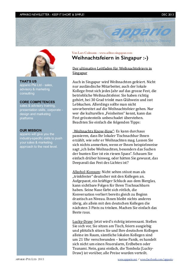 APPARIO NEWSLETTER - KEEP IT SHORT & SIMPLE!	   DEC 2013  Von Lars Culmann - www.aditus-singapur.com  Weihnachtsfeiern in ...
