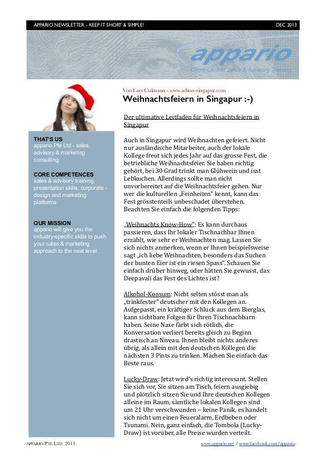 APPARIO NEWSLETTER - KEEP IT SHORT & SIMPLE!   DEC 2013  Von Lars Culmann - www.aditus-singapur.com  Weihnachtsfeiern in ...