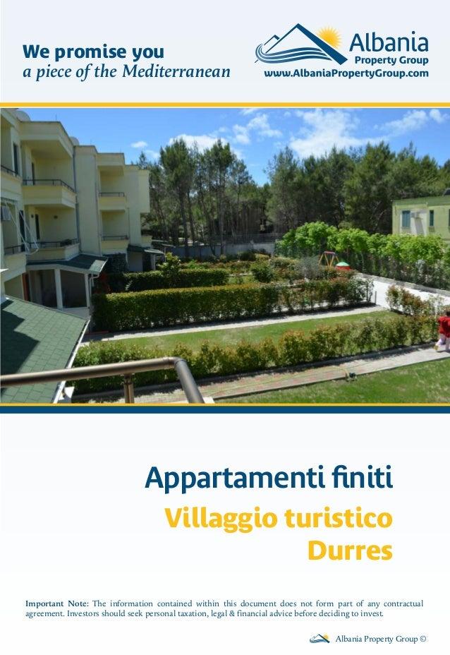 Appartamenti finiti Villaggio turistico Durres Albania Property Group © Important Note: The information contained within th...