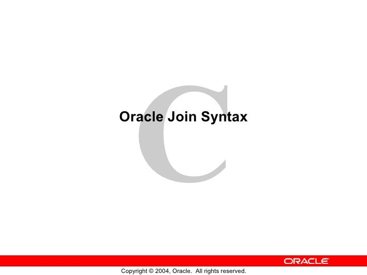 Oracle Join Syntax
