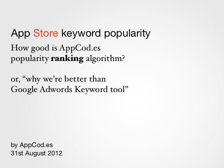 App Store keyword popularity - by App Codes