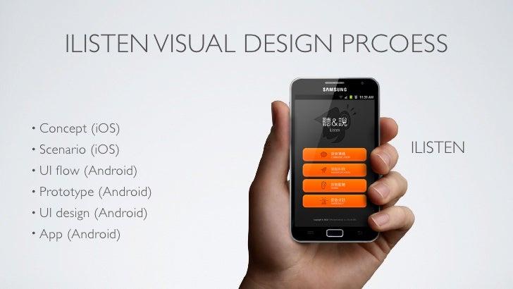 ILISTEN VISUAL DESIGN PRCOESS• Concept    (iOS)• Scenario   (iOS)                ILISTEN• UI   flow (Android)• Prototype   ...