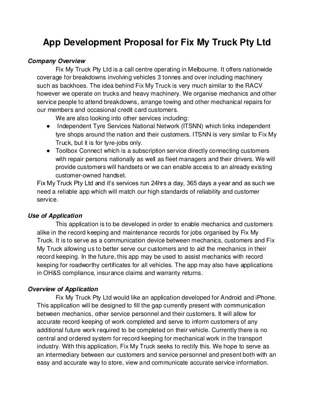 App Development Proposal for Fix My Truck Pty LtdCompany Overview         Fix My Truck Pty Ltd is a call centre operating ...