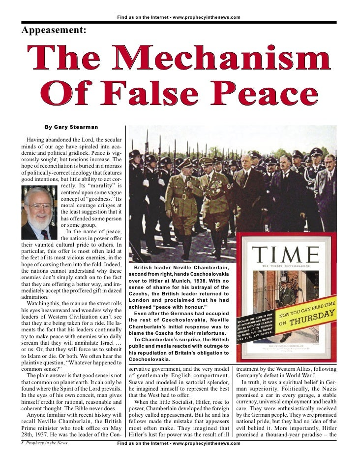 Appeasement: The Mechanism Of False Peace -  Prophecy In The News Magazine   November 2007