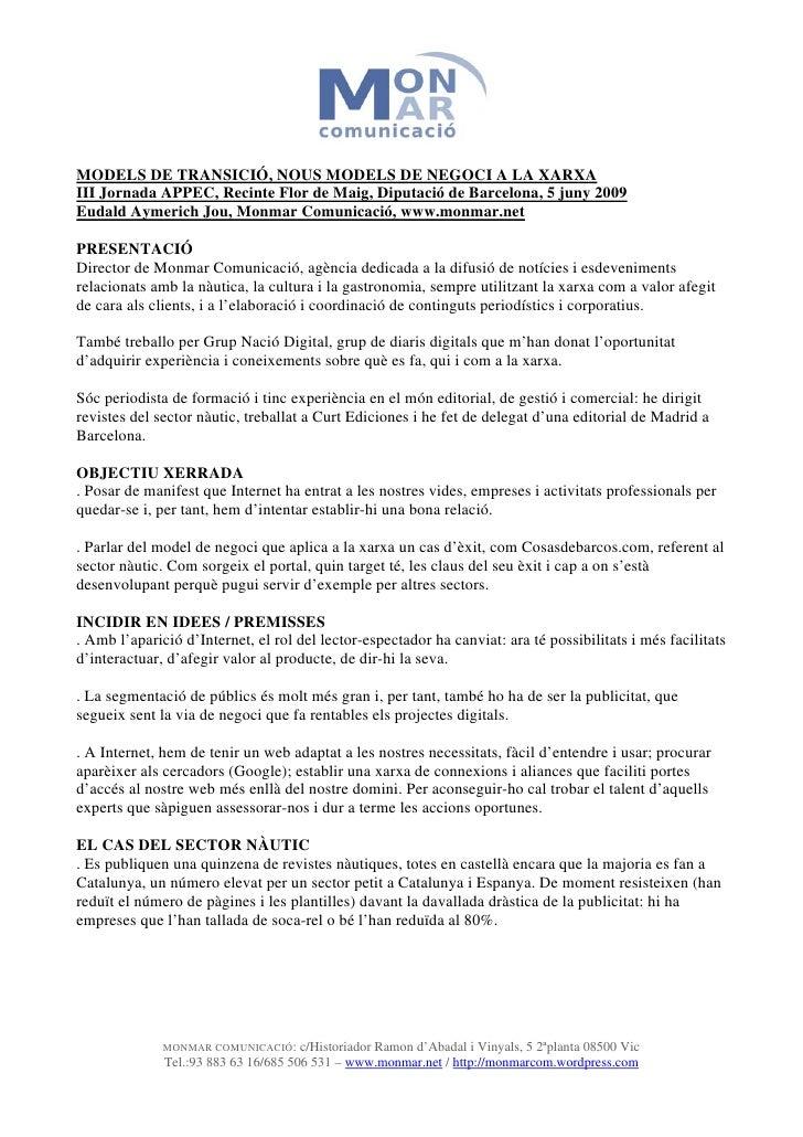 Appec Models De Transició, Nous Models De Negoci A La Xarxa E. Aymerich Jou Monmar.Net