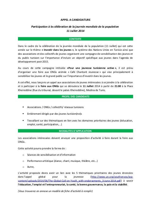 APPEL A CANDIDATURE Participation à la célébration de la journée mondiale de la population 11 Juillet 2014 CONTEXTE Dans l...