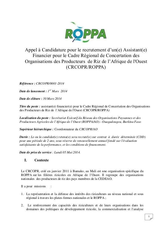 Appel à Candidature pour le recrutement d'un(e) Assistant(e) Financier pour le Cadre Régional de Concertation des Organisa...