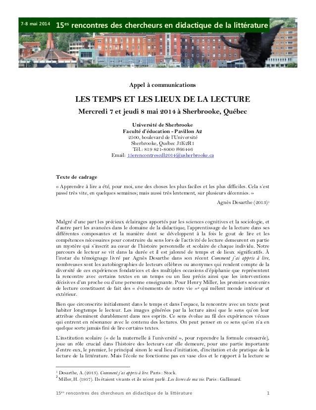 7-8 mai 2014  15es rencontres des chercheurs en didactique de la littérature  Appel à communications  LES TEMPS ET LES LIE...