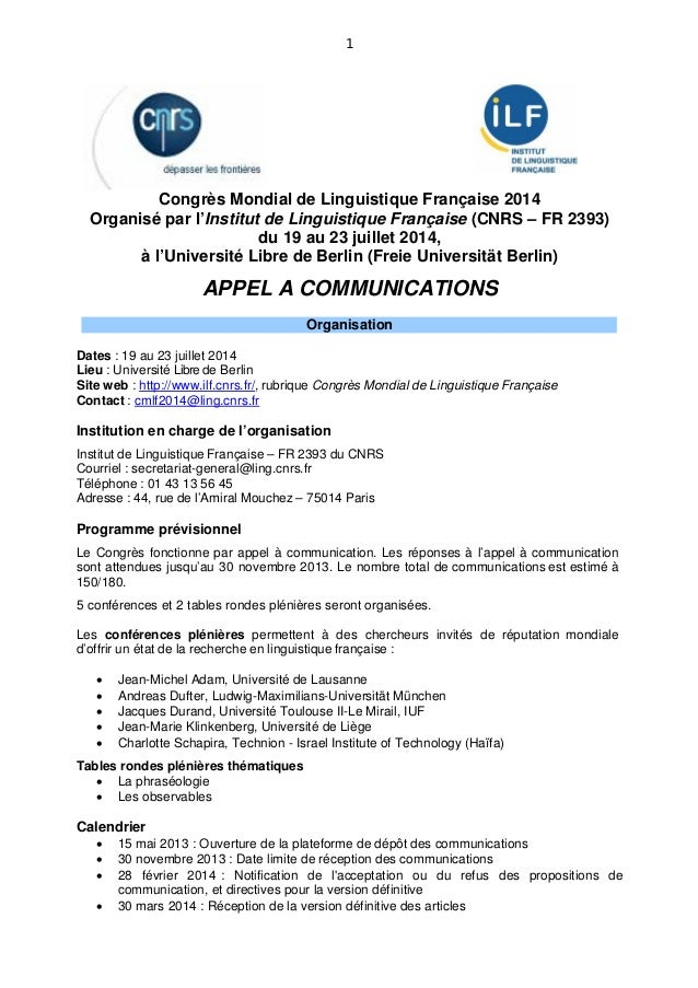 1           Congrès Mondial de Linguistique Française 2014  Organisé par l'Institut de Linguistique Française (CNRS – FR 2...