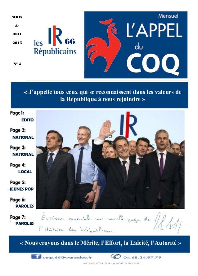 JEUNES POP PAROLES PAROLES NATIONAL NATIONAL EDITO LOCAL MOIS de MAI 2015 N° 5 « la République à nous rejoindre » « » 66