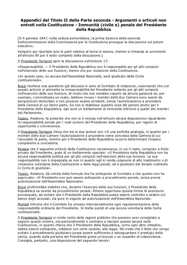 Appendici del Titolo II della Parte seconda - Argomenti o articoli non entrati nella Costituzione - Immunità (civile e) pe...
