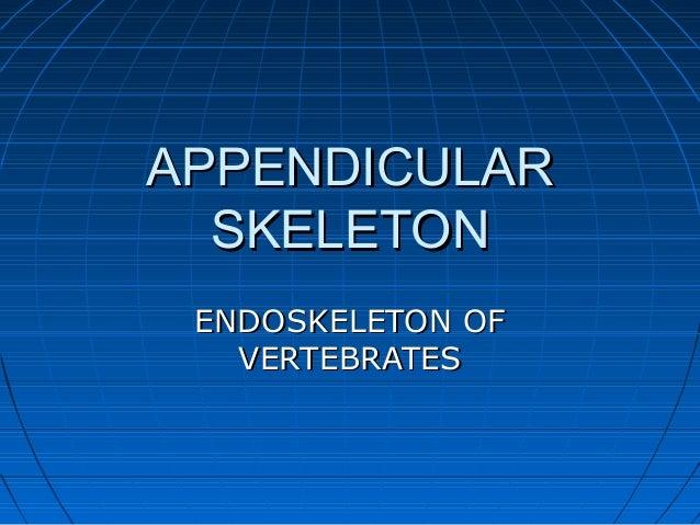 APPENDICULARAPPENDICULAR SKELETONSKELETON ENDOSKELETON OFENDOSKELETON OF VERTEBRATESVERTEBRATES