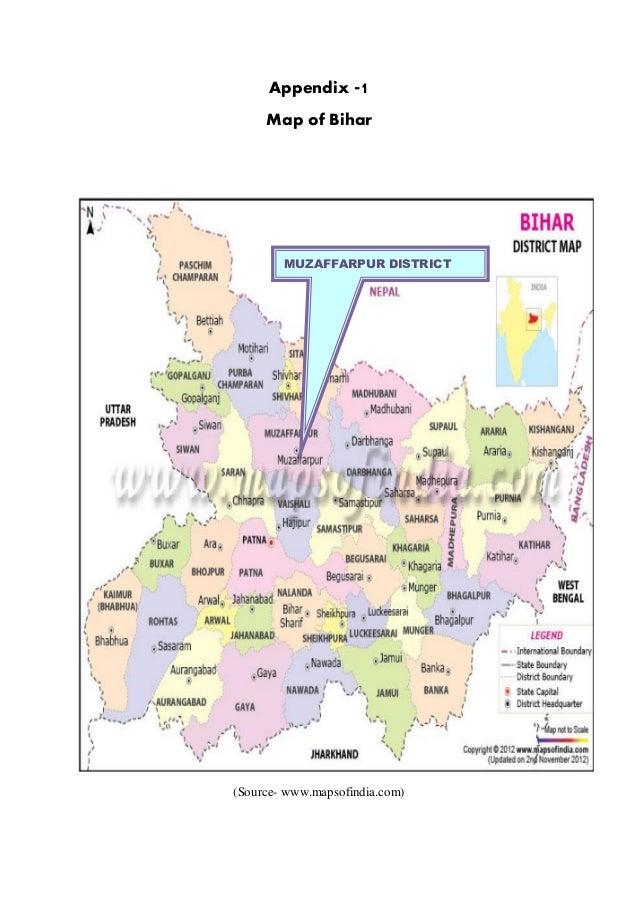 Appendix -1     Map of Bihar        MUZAFFARPUR DISTRICT(Source- www.mapsofindia.com)