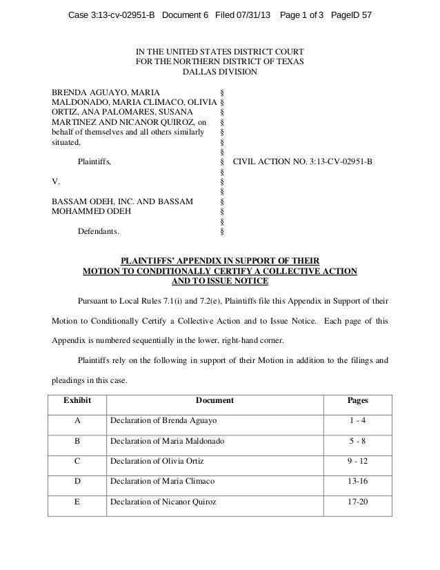 IN THE UNITED STATES DISTRICT COURT FOR THE NORTHERN DISTRICT OF TEXAS DALLAS DIVISION BRENDA AGUAYO, MARIA MALDONADO, MAR...