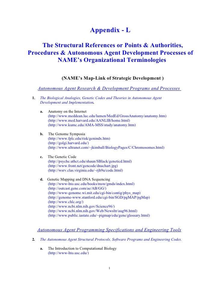 Appendix - L       The Structural References or Points & Authorities, Procedures & Autonomous Agent Development Processes ...