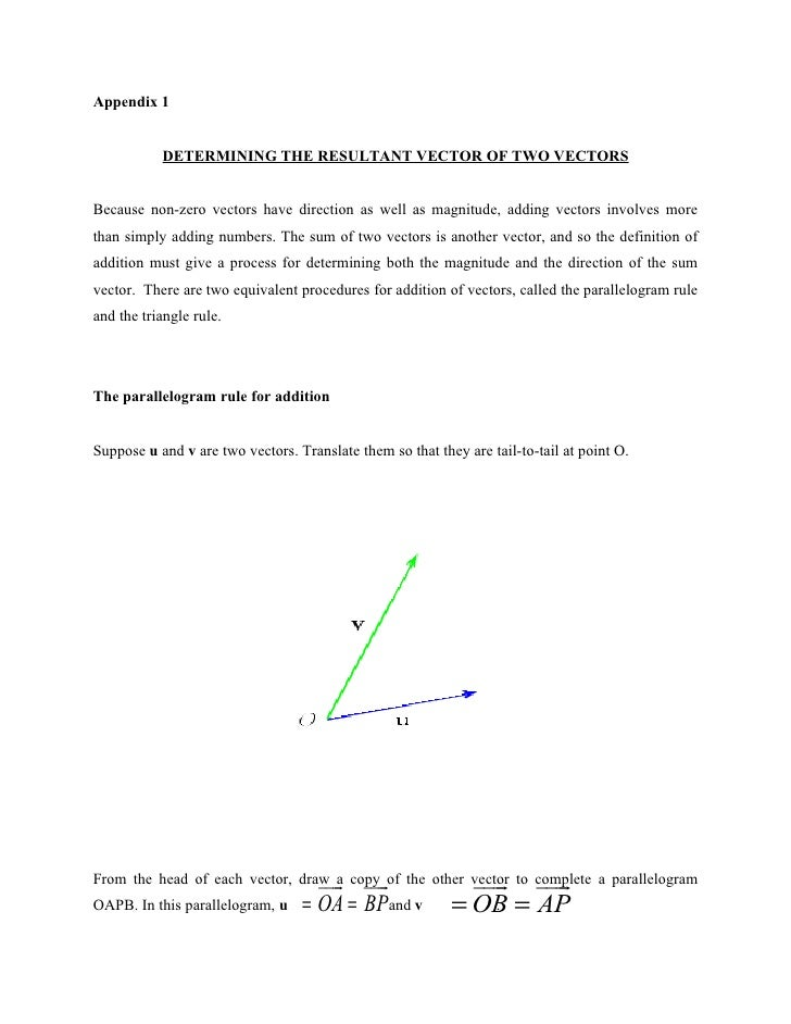Appendix 1              DETERMINING THE RESULTANT VECTOR OF TWO VECTORS   Because non-zero vectors have direction as well ...