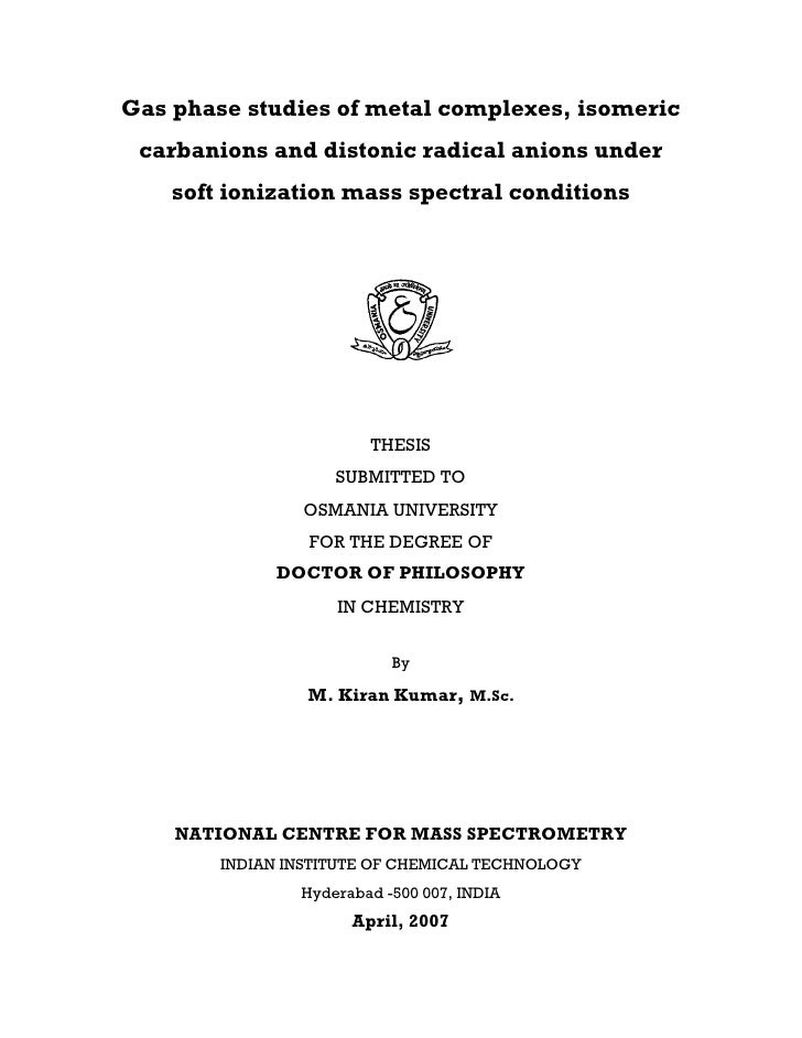 Chemistry in phd thesis