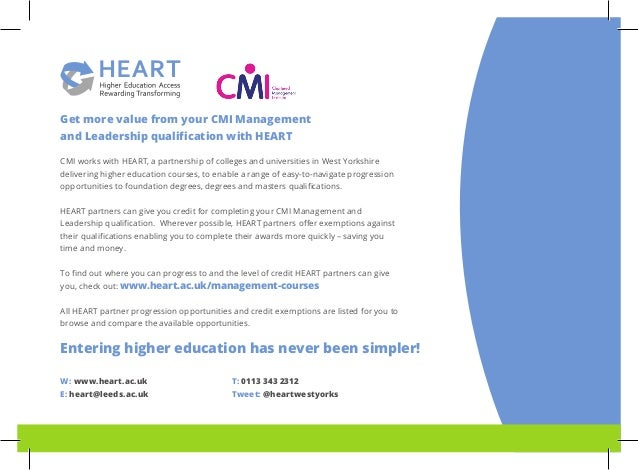 Get more value from your CMI Management and Leadership qualification with HEART CMI works with HEART, a partnership of col...