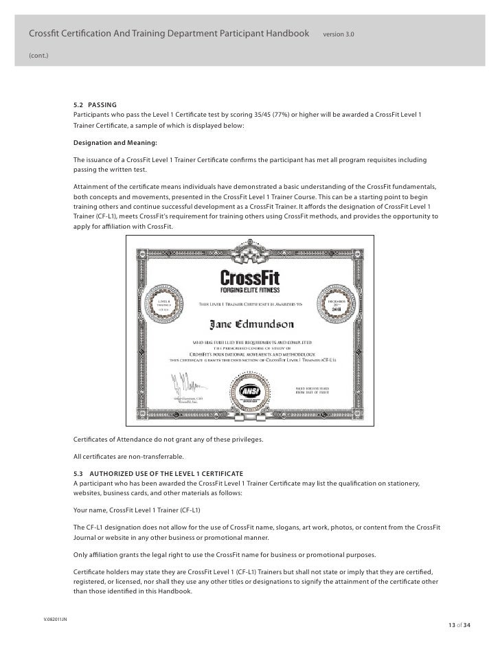 crossfit level manual official certification