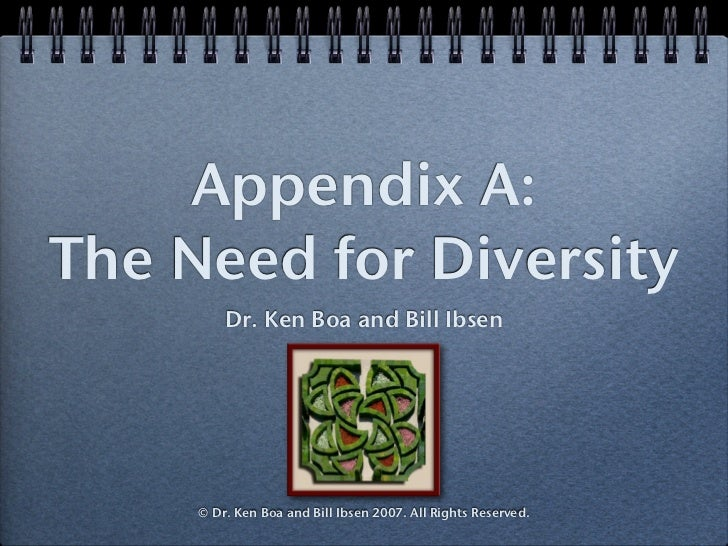 Appendix A: The Need for Diversity