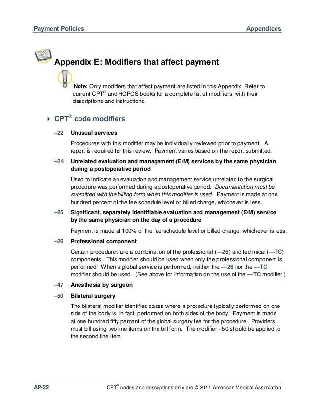 Payment Policies  Appendices  Appendix E: Modifiers that affect payment Note: Only modifiers that affect payment are liste...