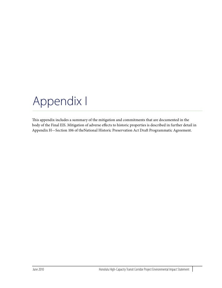 Appendix I This appendix includes a summary of the mitigation and commitments that are documented in the body of the Final...