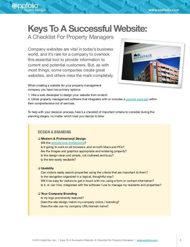 © 2013 AppFolio, Inc. | Keys To A Successful Website: A Checklist For Property Managers | www.appfolio.com 1www.appfolio.c...
