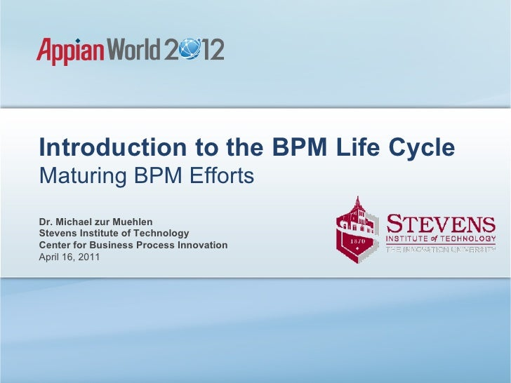 Introduction to the BPM Life CycleMaturing BPM EffortsDr. Michael zur MuehlenStevens Institute of TechnologyCenter for Bus...