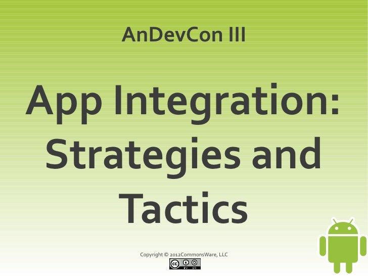 AnDevCon IIIApp Integration: Strategies and     Tactics     Copyright © 2012CommonsWare, LLC