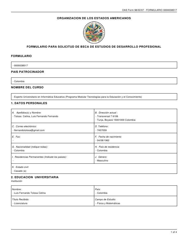 OAS Form 98/02/07 - FORMULARIO 0000038517                                        ORGANIZACION DE LOS ESTADOS AMERICANOS   ...