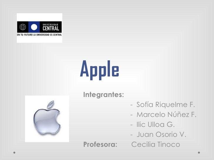 AppleIntegrantes:               - Sofía Riquelme F.               - Marcelo Núñez F.               - Ilic Ulloa G.        ...