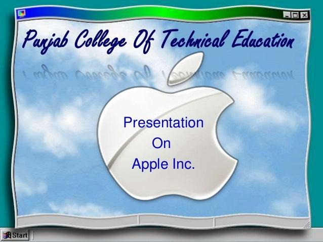 Punjab College Of Technical Education Presentation On Apple Inc.